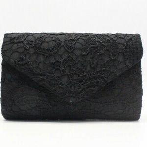 Floral Black Evening Clutch Lace Envelope Clutch